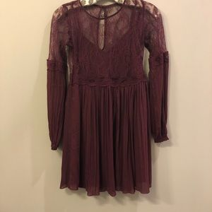 Burgundy Abercrombie & Fitch Lace Dress